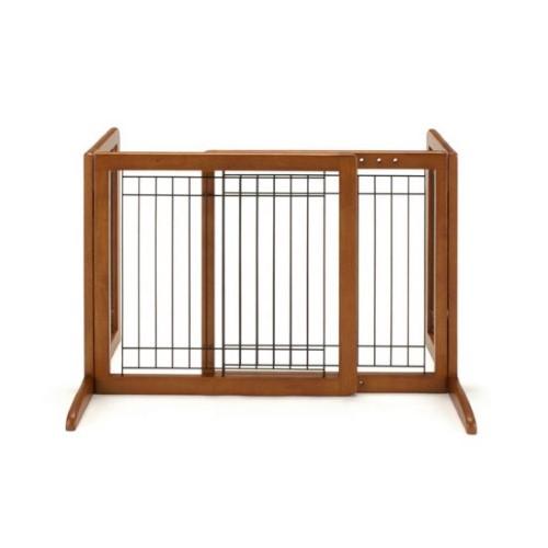 木製 ゲート 使用しない時は、コンパクトに,折りたたみ できます 話題の ペット用 木製おくだけゲート ブラウン(BR)