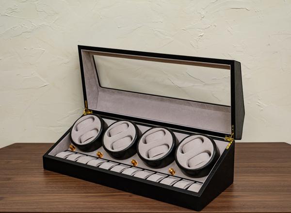 時計収納ワインディングマシーン 8本巻 ブラック ワインディング 自動巻き 腕時計 回転 ワインダー