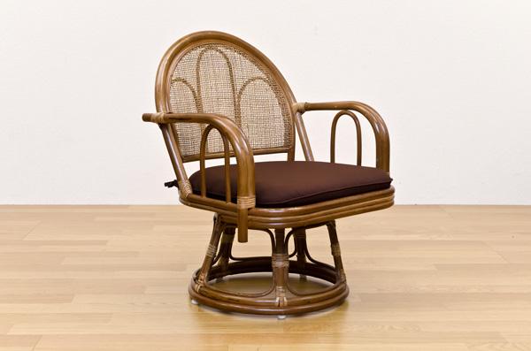 ラタン 回転座椅子 ミドルタイプ ブラウン ラタン