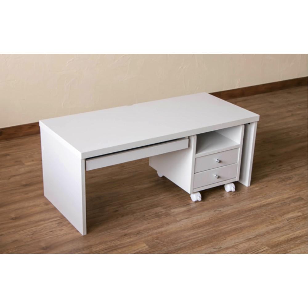 家具 desk 引出し2杯付き チェスト付きローデスク カラー:ホワイト