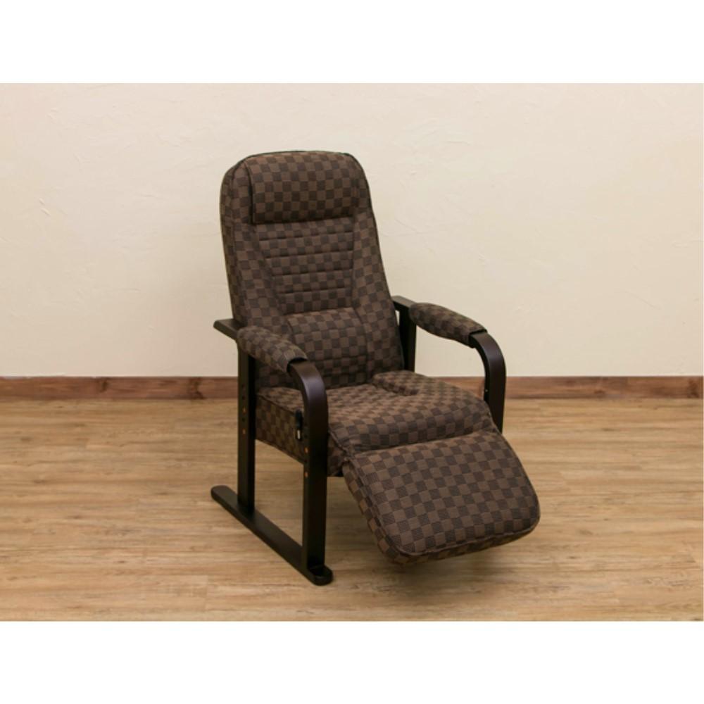 座椅子 チェアー フット付き レバー式リクライニングチェア フット付き カラー:ブラウン