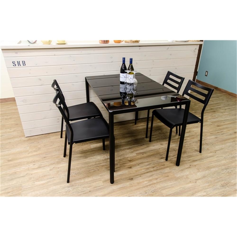 ダイニングテーブル5点セット チェアー スタッキング椅子 ダイニングテーブル 5点セット カラー:ブラック