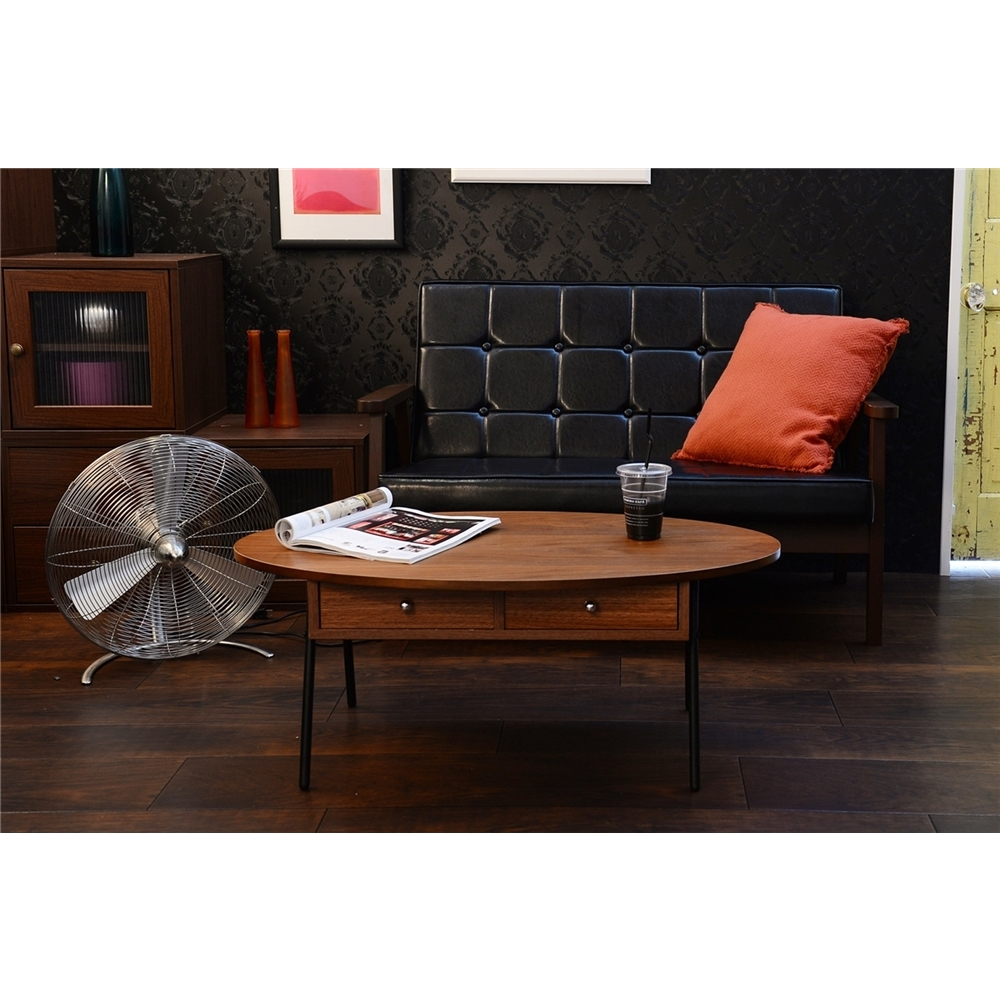 テーブル table 引出し付き 風合いのある天板 引出し付テーブル(90cm幅) オーバルタイプ ブラウン