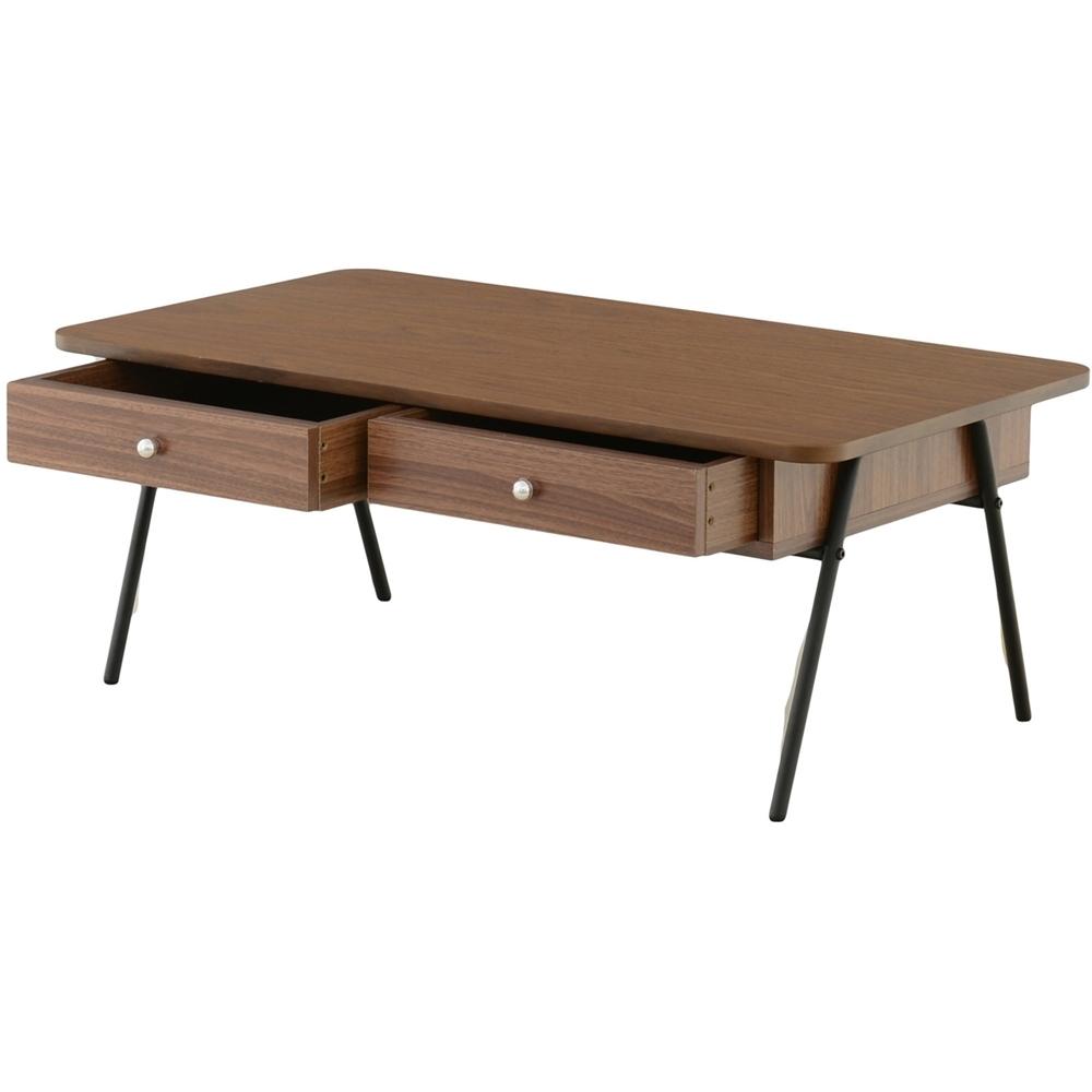 ローテーブル 机 デスク ウォールナット突板 引出し付テーブル(90cm幅) スクエアタイプ ブラウン