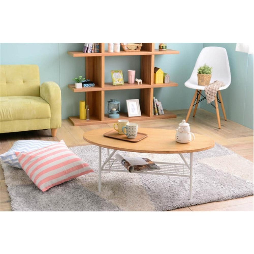 ローテーブル インテリア 木と アイアン の組合せ 棚付テーブル(90cm幅) オーバルタイプ ナチュラル