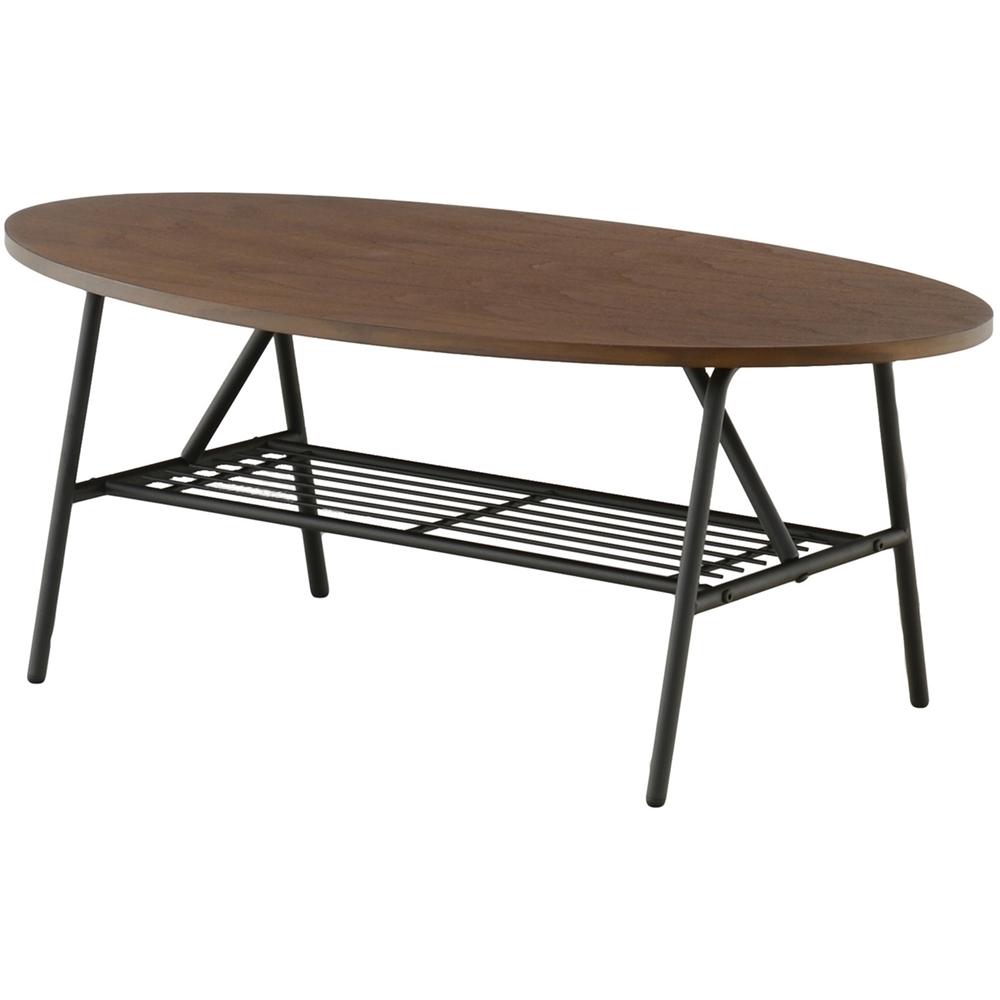 センターテーブル インテリア 木と アイアン の組合せ 棚付テーブル(90cm幅) オーバルタイプ ブラウン