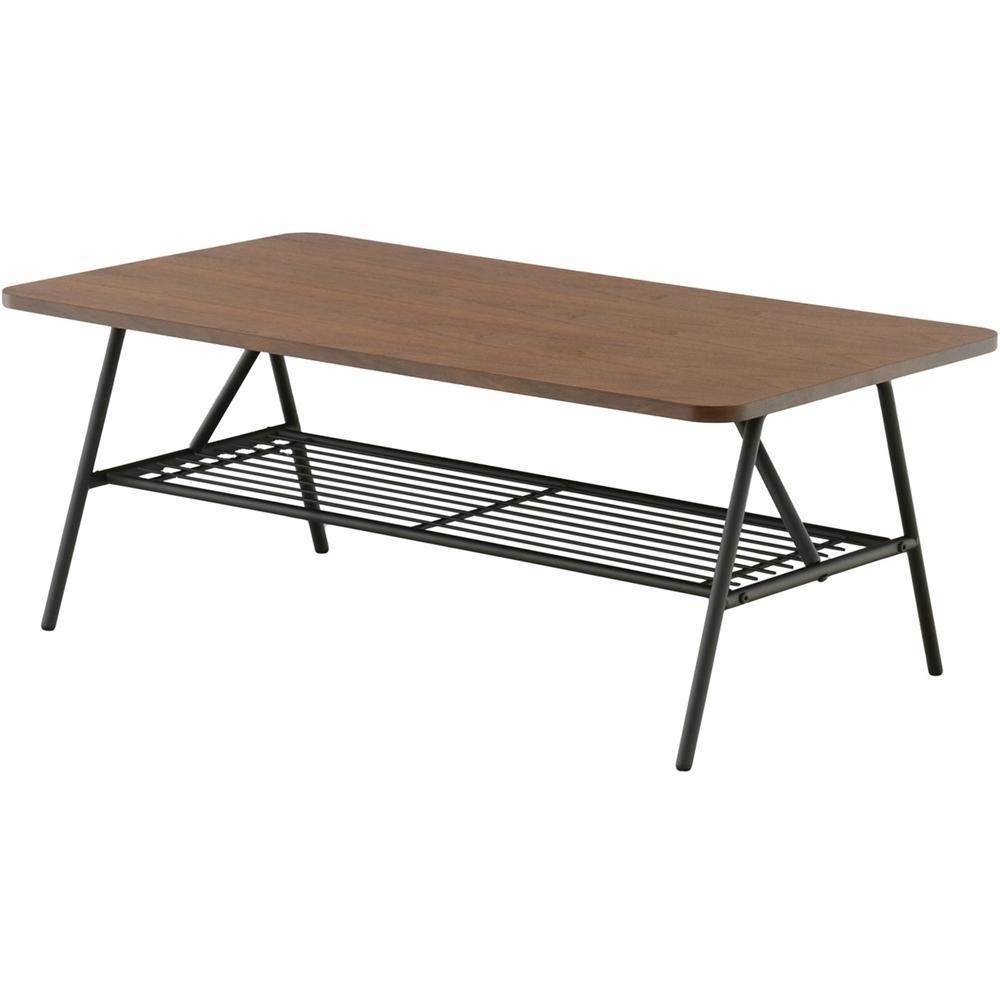 リビング テーブル 収納 風合いのある天板 棚付テーブル(90cm幅) スクエアタイプ ブラウン