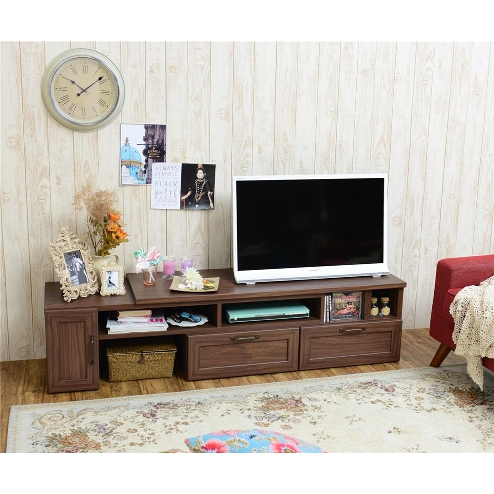 TVボード TV台 ゲーム機、AV機器 収納に ローボード(扉付タイプ) ブラウン
