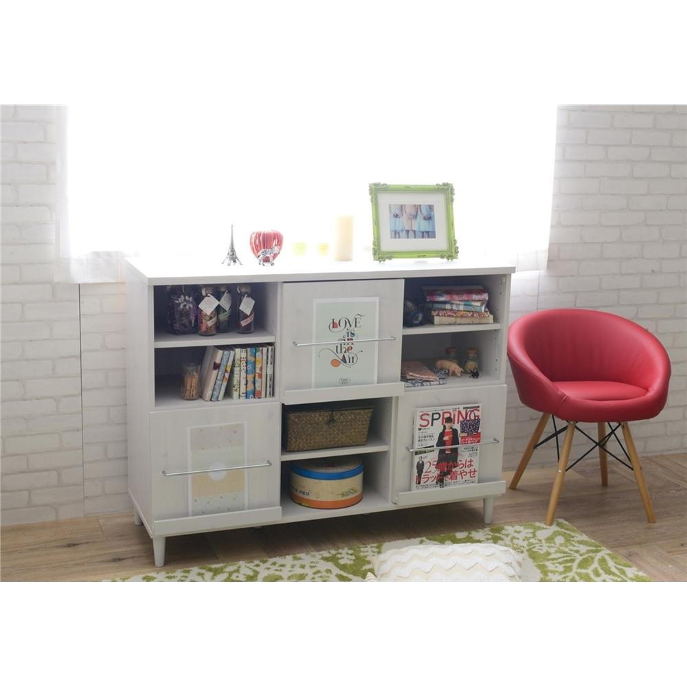 本棚 リビングボード ディスプレイタイプ キャビネット 120cm幅 ホワイト
