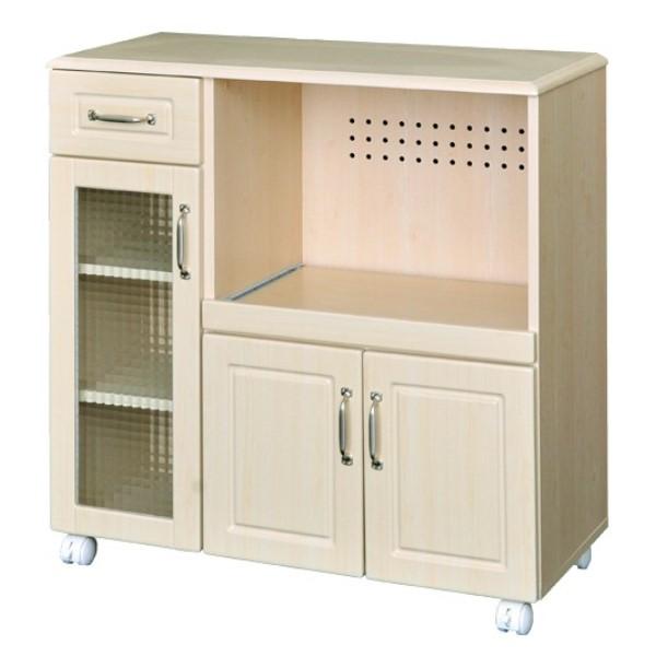 キャスター付キッチンカウンター (90cm幅) お部屋を優しい印象に!!キッチン ワゴン インテリア/家具 収納 引き出し 棚 ラック 食器棚