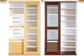 便利雑貨 スライドタイプの新しい食器棚 ガラス扉食器棚 ダークブラウン/ホワイト