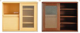 便利雑貨 スライドタイプ新しい食器棚 ガラスレンジキャビネット ダークブラウン