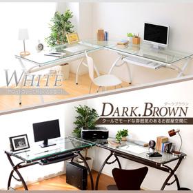 便利雑貨 ガラス天板 PCデスク desk 大人気のL字型のパソコンデスク!ホワイト