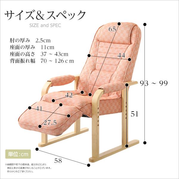 生活関連グッズ 肘掛けしやすい高座椅子(ミドルハイタイプで腰のサポートに)フットリクライニング付き 桃色