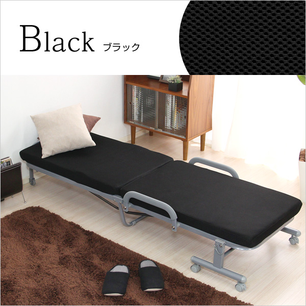 便利雑貨 スリム折りたたみベッド (折りたたみ マットレス ベッド) ブラック