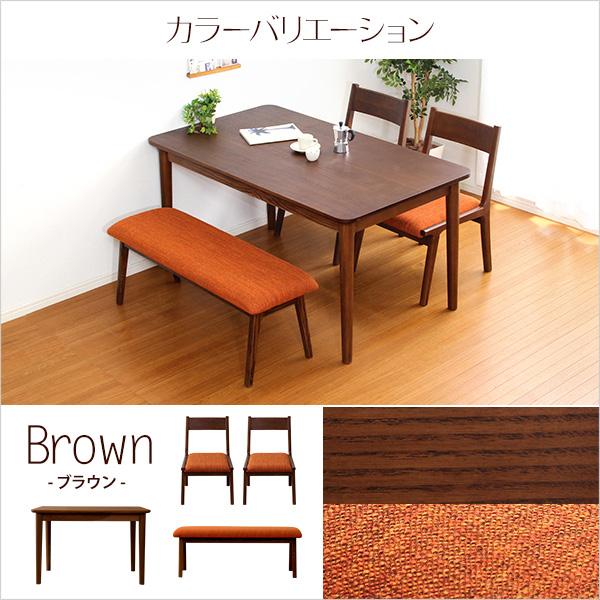 便利雑貨 ダイニング4点セット(テーブル+チェア2脚+ベンチ)ナチュラルロータイプ ブラウン 木製アッシュ材 ブラウン