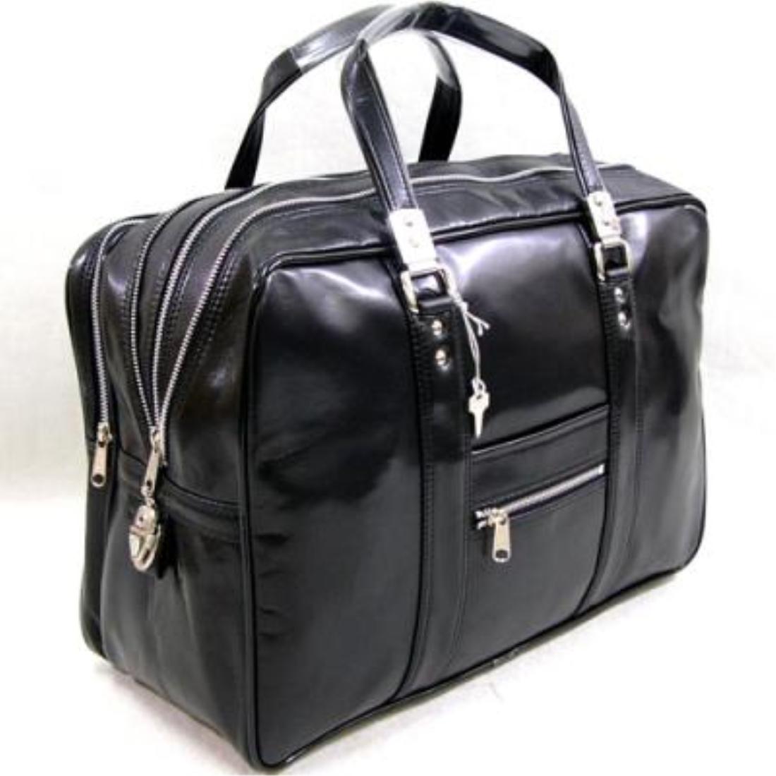 おしゃれ デザイン 日本 ボストン バッグ 鞄 銀行 ビジネス国産銀行ボストンバッグブラック
