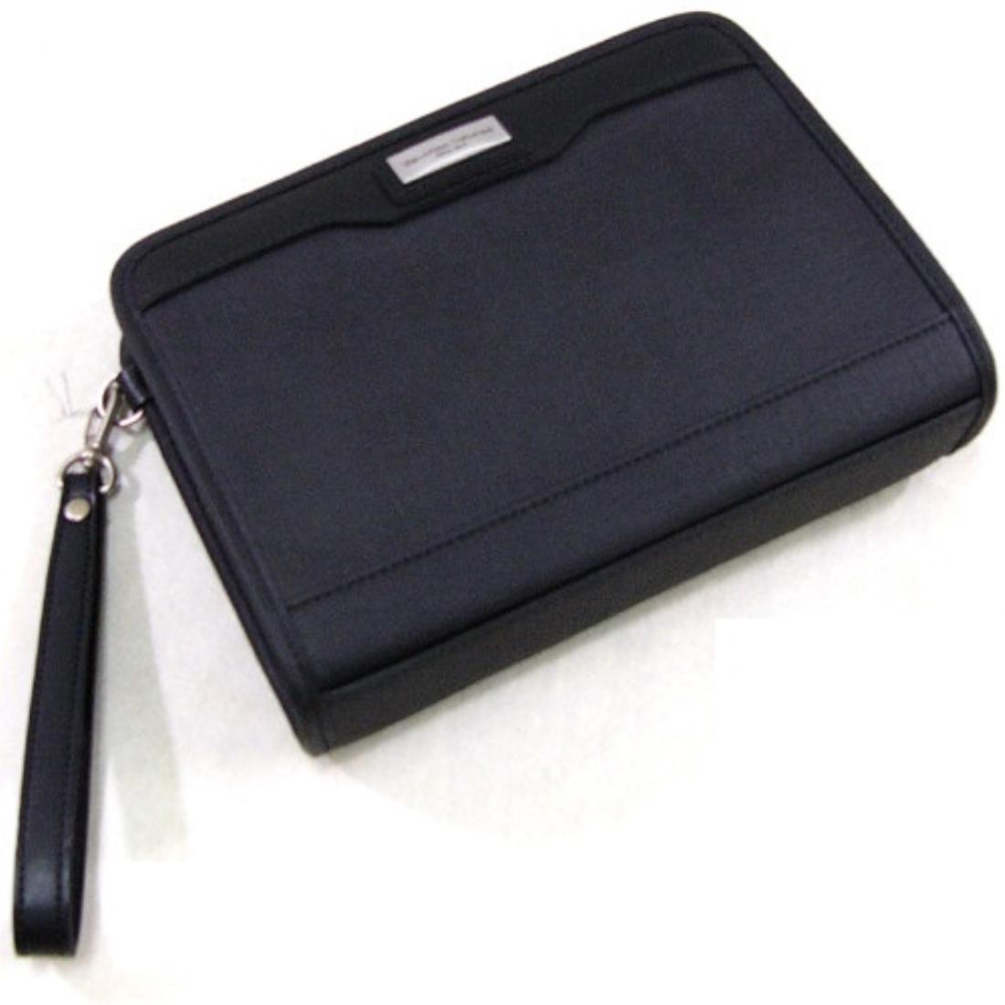 合成皮革フェイクレザー三角ポーチ ブラック 日本製ポーチ 日本 革 鞄 セカンドバック 本革/付属