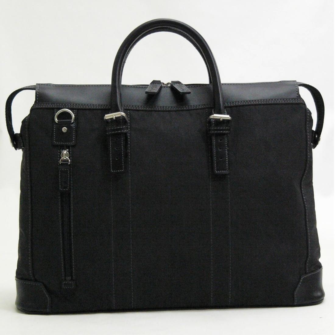 おしゃれ デザイン 日本 革 ビジネス 通勤カバン 通勤 バッグ 鞄 ファスナー 本革 付属フェイクレザー縦ファスナーポケット付ビジネスバッグ ブラック 日本製