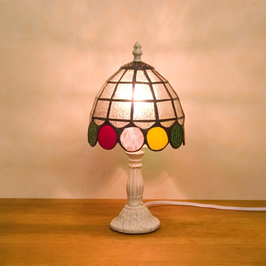 部屋 おしゃれ レトロ 家具 【置照明】ティファニー [テーブルランプ ドット]LED対応<E12/水雷型>ステンドグラス テーブルランプ