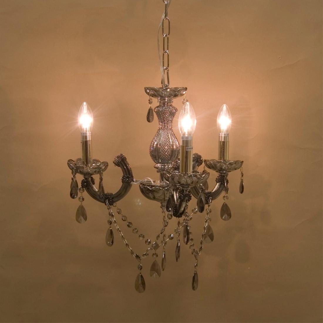 部屋 模様替え 洋風 クリスタルガラスシャンデリア[Trinity ブラック]LED対応<E12/水雷型>