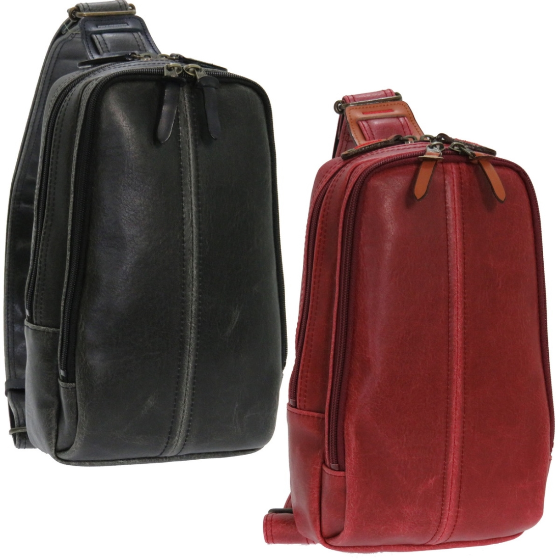 おしゃれ カバン レトロボディーバッグ レッド 日本製日本 PVC 鞄 ボディー バッグ