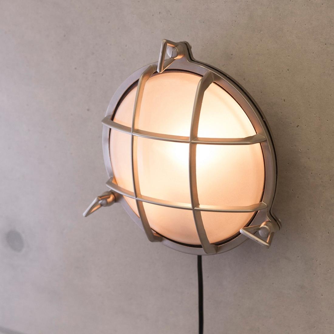 部屋 おしゃれ レトロ 家具 【壁照明】ヴィンテージウォールランプ[サブマリン ラウンド(ブラッシュNK)]LED対応<E26/梨型>