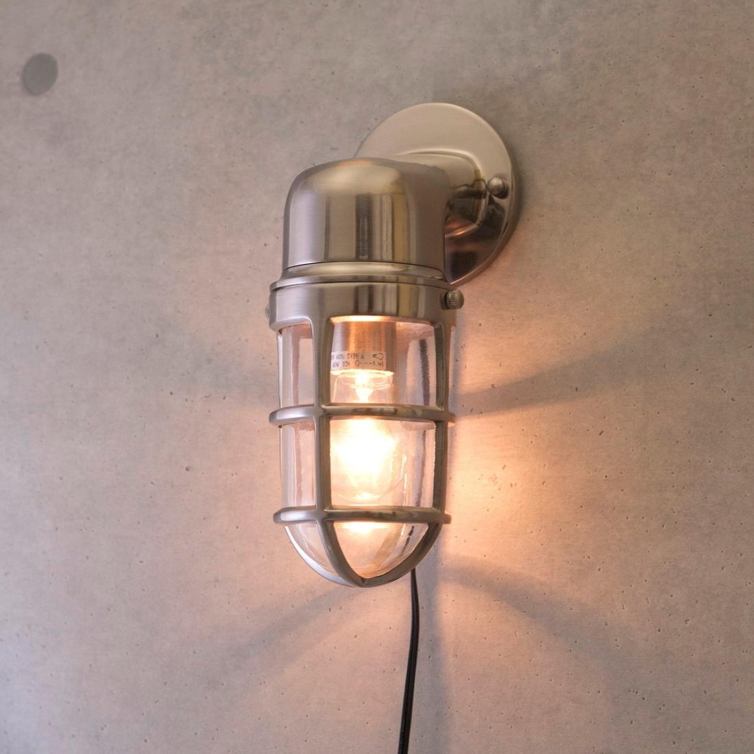 部屋 おしゃれ レトロ 家具 【壁照明】ヴィンテージウォールランプ[サブマリン ブラケット(ブラッシュNK)]LED対応<E26/梨型>