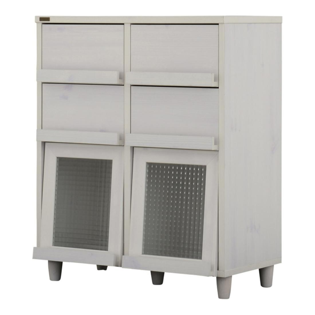 送料無料 オシャレ 家具 飾り 収納 飾り戸棚 NEFLAS(ネフラス)引出し付きディスプレイラック(75cm幅)WH/BR オシャレ
