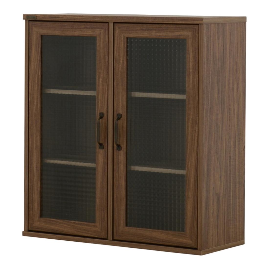 送料無料 オシャレ 家具 飾り 収納 棚 NEFLAS(ネフラス)ガラスキャビネット(75cm幅)WH/BR オシャレ