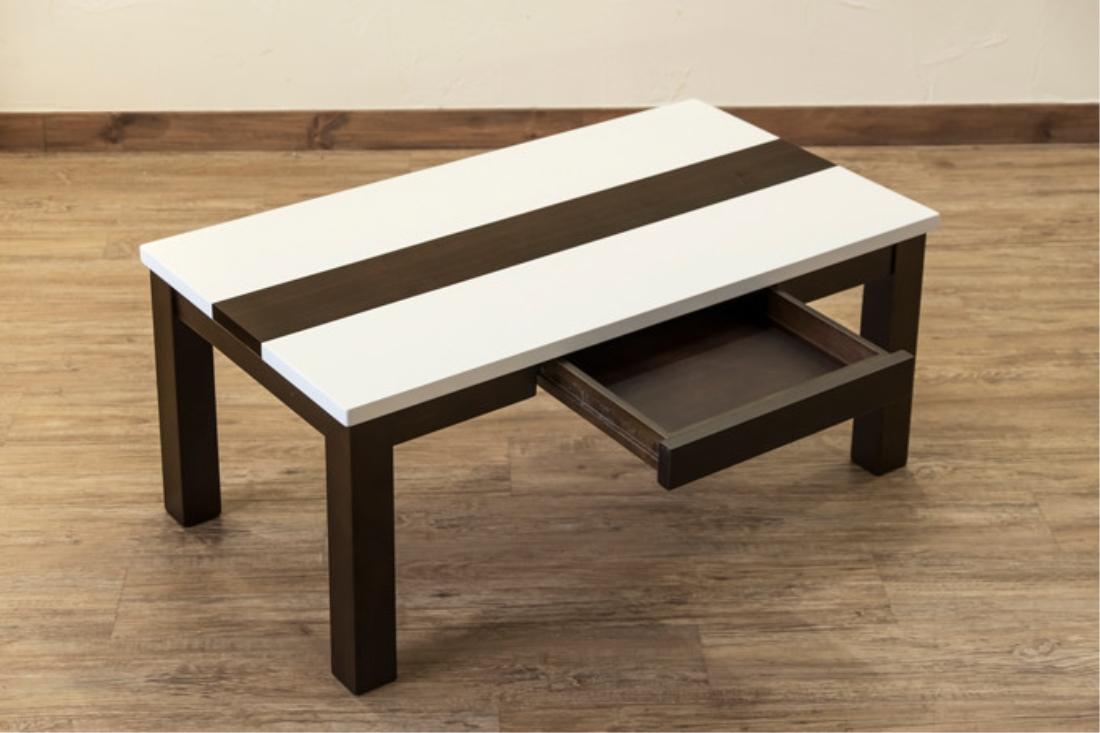 【送料無料】家具 机 テーブル 【引出し付】Hull ハイグロスセンターテーブル 90×50