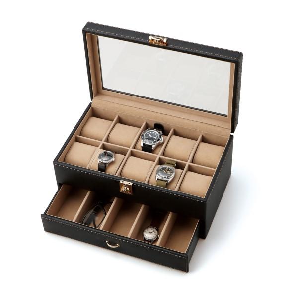時計/腕時計 ケース お気に入りの時計、をコレクション感覚で 収納 人気 ウォッチケース(15本用) ブラック