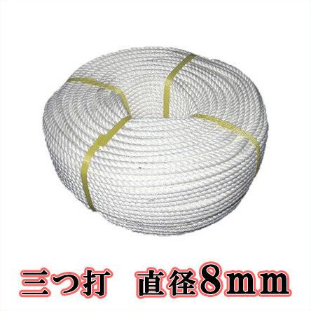 【送料無料】生川 ビニロンS ロープ 3つ打 直径8mm 長さ200m[繊維ロープ 非難グッズ 防災グッズ 防災ロープ 非難ロープ 縄 白色]