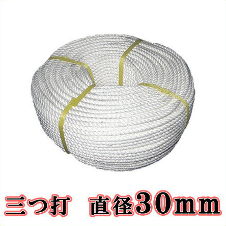 【送料無料】生川 ビニロンS ロープ 3つ打 直径30mm 長さ200m[繊維ロープ 非難グッズ 防災グッズ 防災ロープ 非難ロープ 縄 白色]