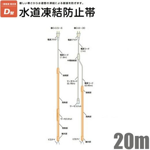 電熱産業 凍結防止帯 金属管用 D-20 20m [水道凍結防止ヒーター 水道管 給湯管 給水管 保温 配管 破損防止 カバー]