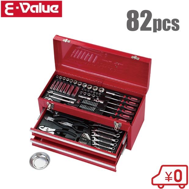 【送料無料】E-Value 整備工具セット EST-1682RE [工具セット ツールセット 自転車 バイク 車 メンテナンス用品]