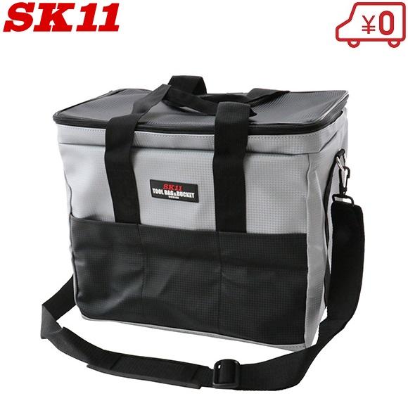 送料無料 安全 カーボン調素材で水濡れや汚れに強いです SK11 工具バッグ ツールバッグ SKB-PDX-SL 工具バック 大容量 ショルダーベルト付 折りたたみ エコバッグ 早割クーポン レジカゴ