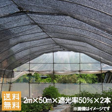 遮光ネット 黒 2m×50m×2本セット 100m 遮光率50% [農業用遮光シート 農業資材 農業用品 園芸用品 日よけ 農業用ネット]