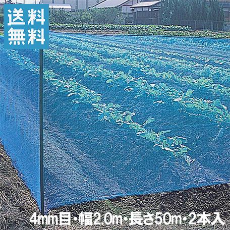 【法人様限定】防風ネット(青) 網目4mm×2.0m×50m 2本セット[防風網 農業資材 園芸用品 防砂 防塵]