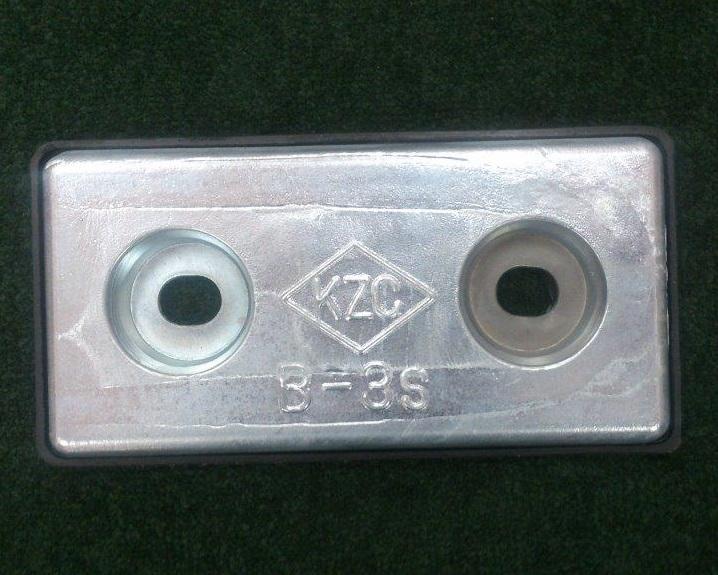 【送料無料】KZC 亜鉛板 B-3S [17×100×200mm] 6枚セット 防蝕亜鉛外板用/亜鉛合金陽極 [船舶用品 クルーザー 船具]
