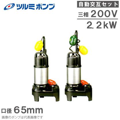 ツルミポンプ 浄化槽用 水中ポンプ 65PUA22.2/65PUW22.2 2台セット [自動交互形 汚水 汚物 排水ポンプ 浄化槽ポンプ]