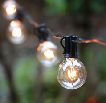 Outdoor Lighting Patio String Lights Black 50球 G40 E12 15m 連結が可能 アウトドアーライティング パティオストリングライト ブラック イルミネーション ライト 電飾 業務用 ガーランドライト パーティ ランプ アメリカ ガーデンライト