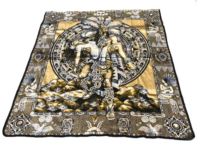 Mayan Sacrifice Scene Blanket マヤの犠牲シーンブランケット(大)・ネイティブ ラグ マット・Zarape Blanket・ブランケット・サラペ・Mexican・Maria・メヒコ・チカーノ・ローライダー