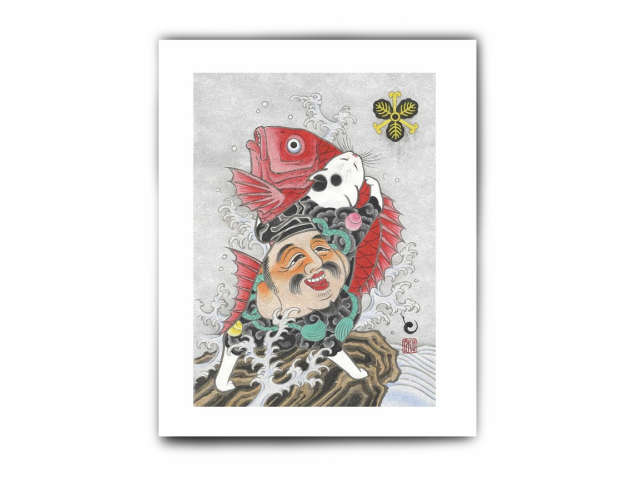 MONMON CATS Cat with Red Fish Print モンモンキャット・絵・アートパネル・ポスター・壁掛け・絵画・猫・刺青・イレズミ・tattoo・タトゥー・ねこ・ネコ・アメリカ・カリフォルニア