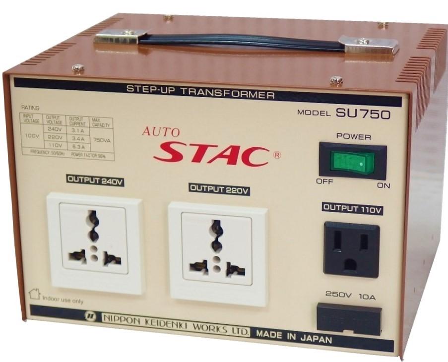 送料無料 ステップアップトランス 変圧器 セールSALE%OFF SU750 100V⇒110V 220V 240V 限定モデル 最大容量:750VA AUTO トランス 海外製品 日本製 国内 STAC アップトランス 家電 昇圧トランス