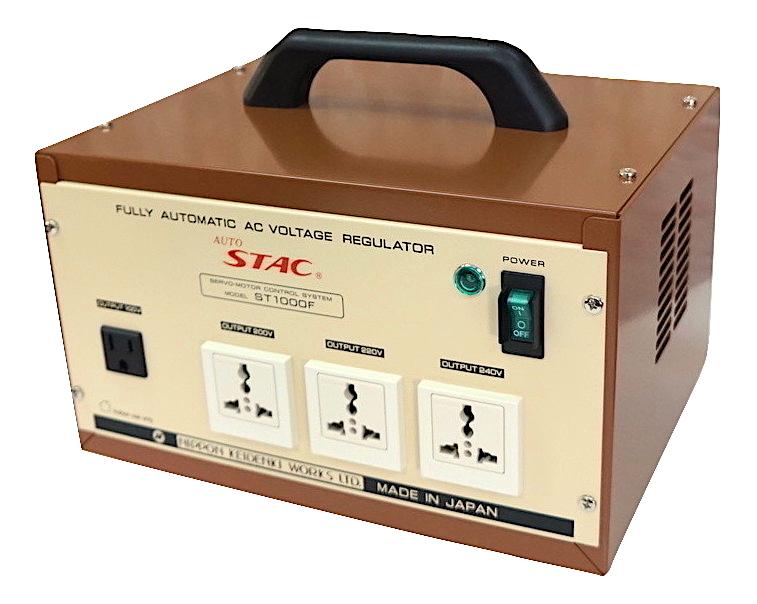 自動電圧安定機能付きステップ アップトランス ST-1000F 100V⇒100V/200V/220V/240V変圧器 最大容量:1000VAAUTO STAC 日本製 自動電圧安定器海外製品 国内 家電電圧安定器 電圧安定電圧安定化 安定化
