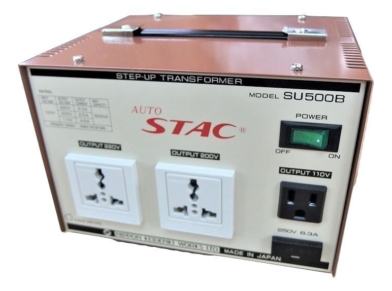 送料無料 ステップアップトランス 変圧器 SU500B 100V⇒110V 200V 220V 最大容量:500VA AUTO 家電 アップトランス 日本製 国内 授与 トランス STAC 入荷予定 昇圧トランス 海外製品