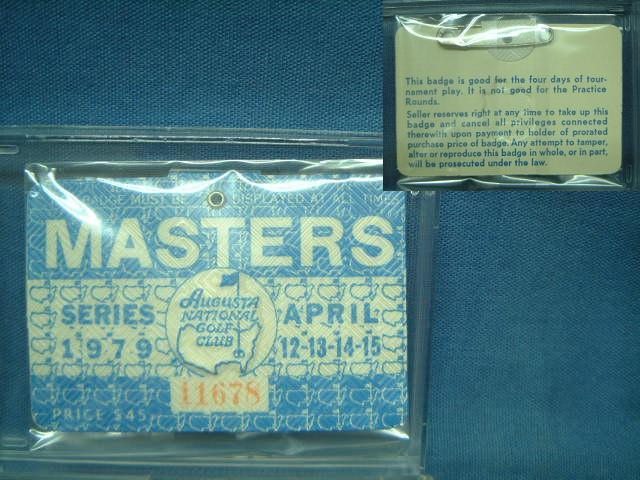 1979 MASTERS 贈呈 往復送料無料 TOURNAMENT マスターズトーナメント 入場バッジ