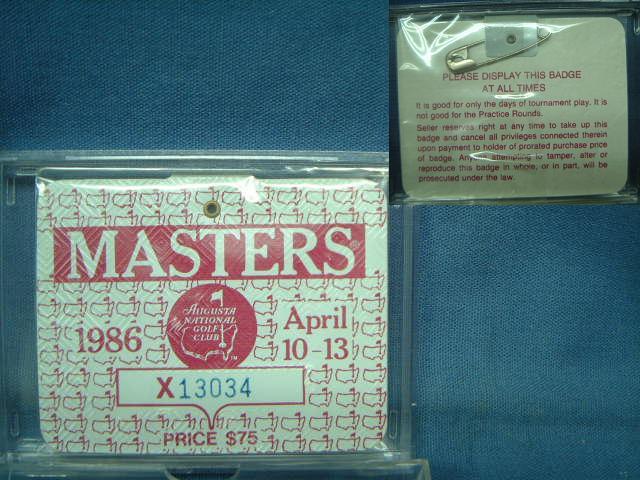 1986 MASTERS 信憑 直営店 TOURNAMENT 入場バッジ マスターズトーナメント