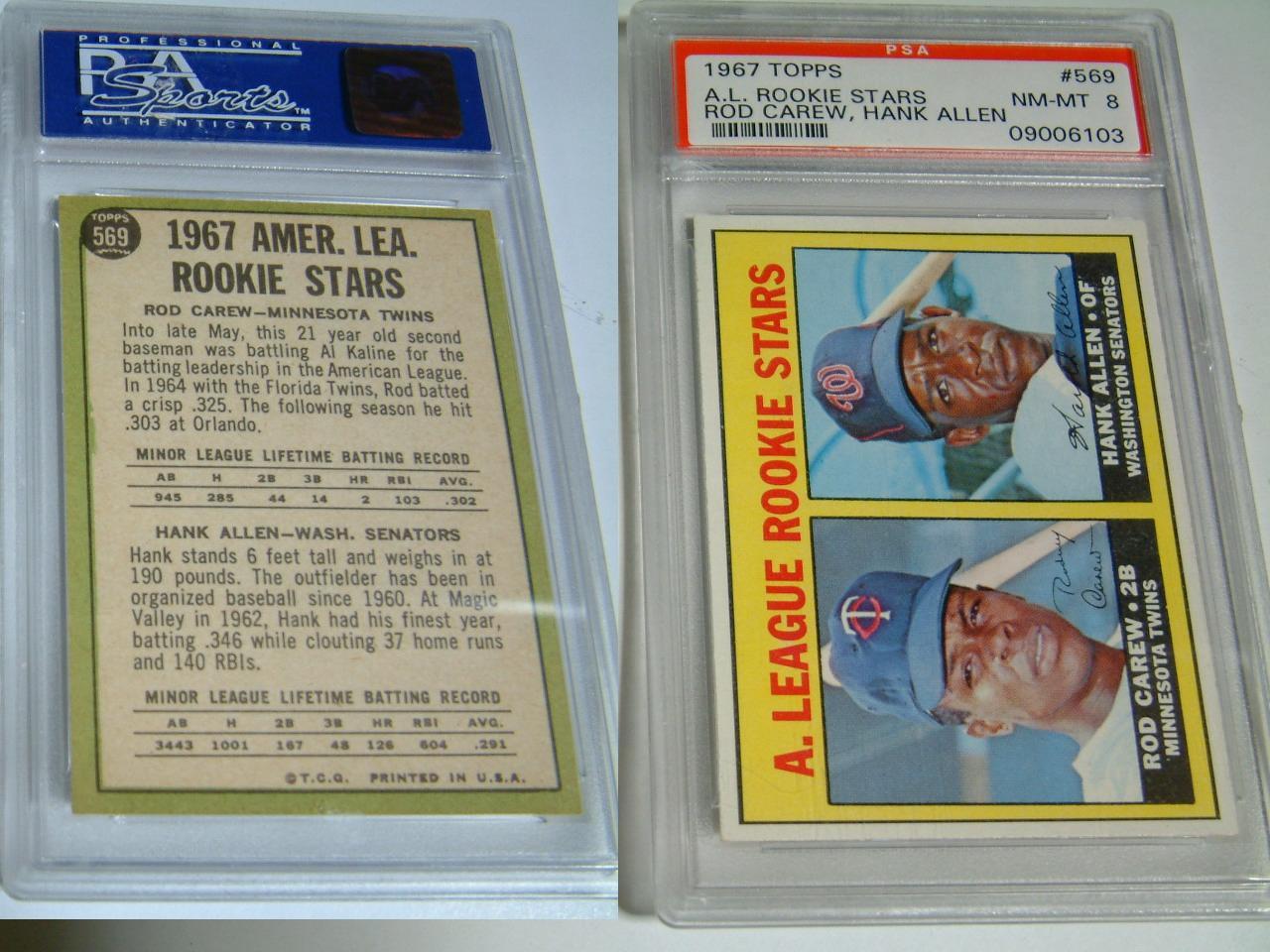 1967 TOPPS ROD CAREW #569 Rookie cardPSA 8 NM-MT 証明付